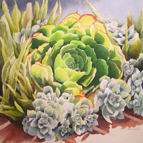 watercolor pintings of flowers and plants